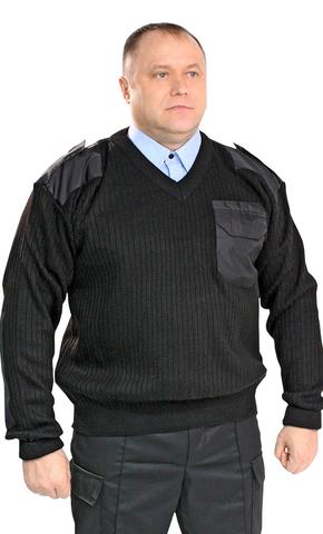 Джемпер черный V вырез