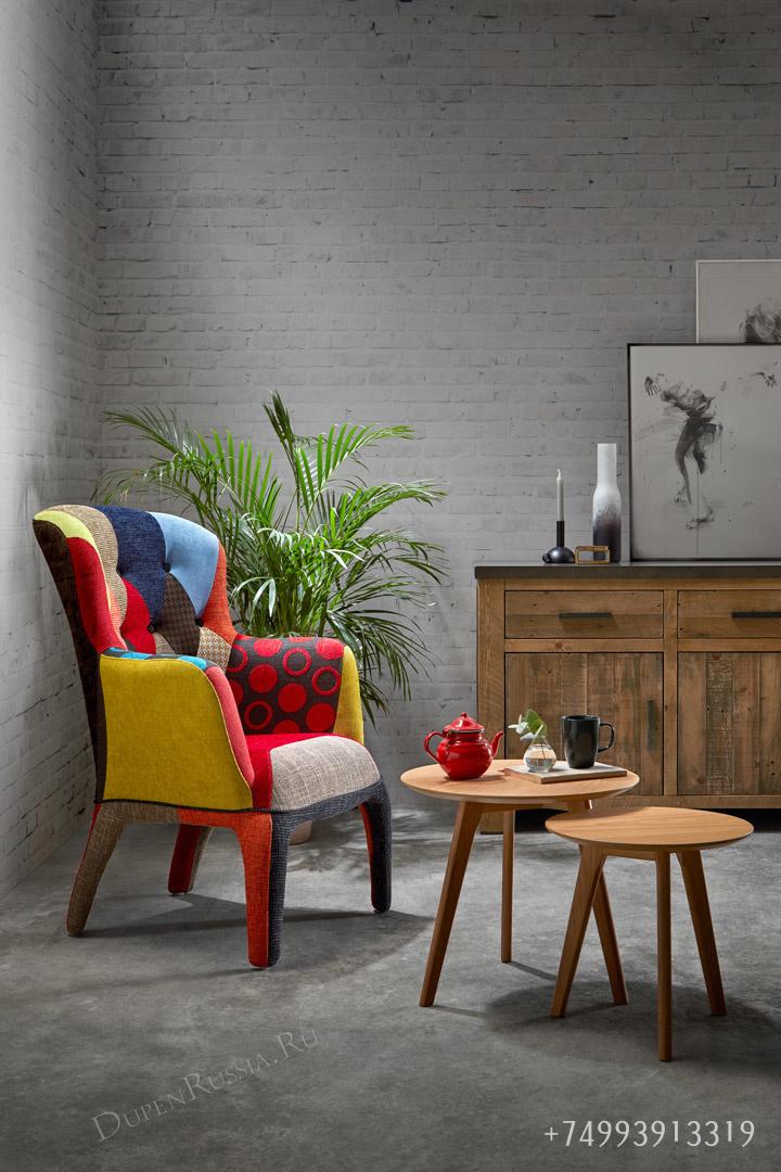 Кресло DUPEN 689P Patchwork и Комплект из двух круглых столиков CT-911 Дуб