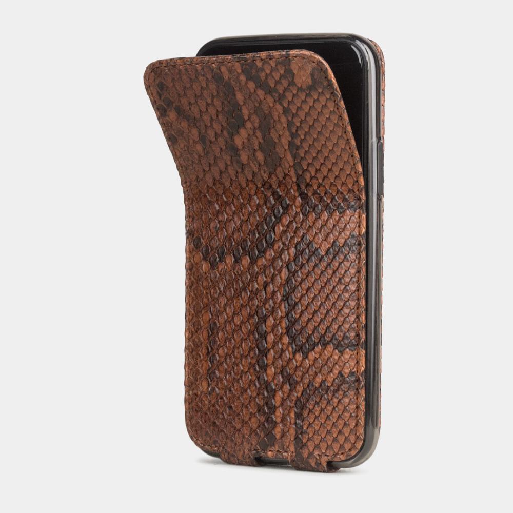 Чехол для iPhone 11 Pro из натуральной кожи питона, цвета Коньяк