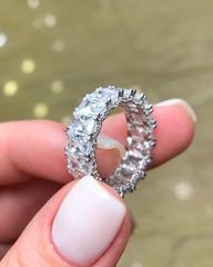 98921- Кольцо-дорожка из серебра с багетными цирконами и фианитами в боковых вставках