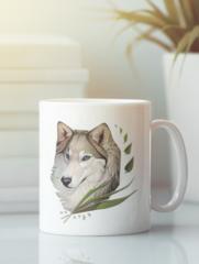 Кружка с изображением Волк (Wolf) белая 0010