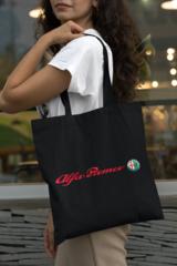 Женская сумка-шоппер с принтом Альфа Ромео (Alfa Romeo) черная 002