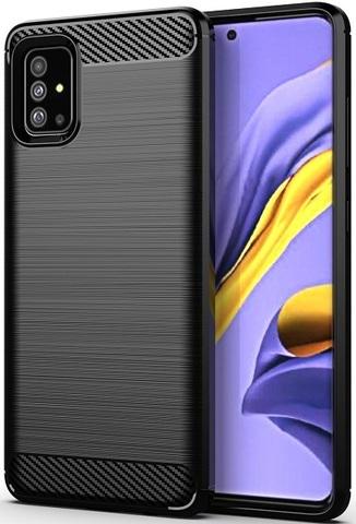 Чехол для Samsung Galaxy A51 (M40S) цвет Black (черный), серия Carbon от Caseport