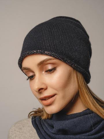 Женская темно-синяя шапка из 100% кашемира - фото 3