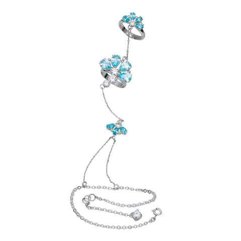 Topazes flowers bracelet in silver