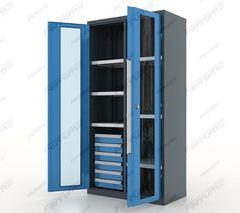 Шкаф инструментальный металлический 6 ящ./6 полок, двери со стеклом, с перегородкой, серия