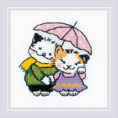 Набор для вышивания крестом «Котомания. Двое под дождем» (1810)
