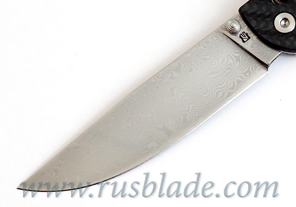 Cheburkov Leader Damascus Folding Knife Axis Carbon Fiber Best Russian Knives - фотография