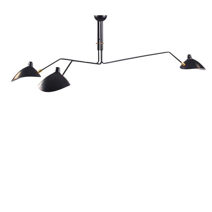 Потолочный светильник  Three Arms by Serge Mouille (черный)