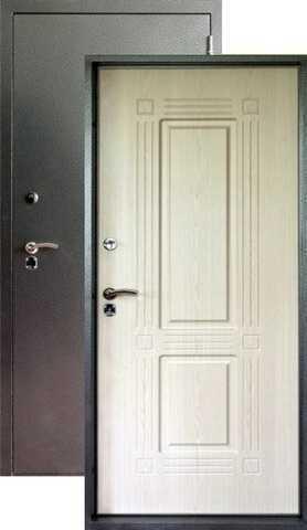 Дверь входная Форт  Т-42, 2 замка, 1,8 мм  металл, (серебро антик+беленый дуб)