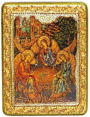 Инкрустированная икона Троица 20х15см на натуральном дереве в подарочной коробке