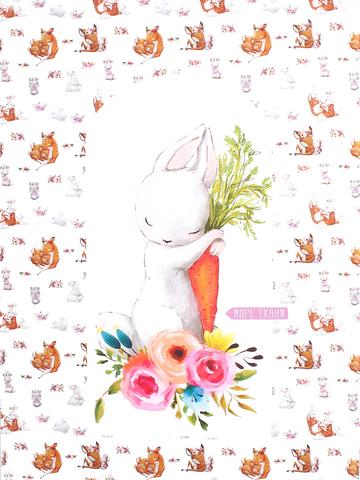 Панель(купон) зайка c морковкой(гнездо)-72*103 см