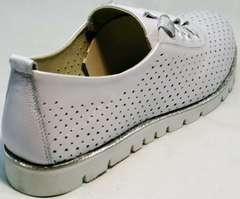 Модные женские туфли с перфорацией Mi Lord 2007 White-Pearl.