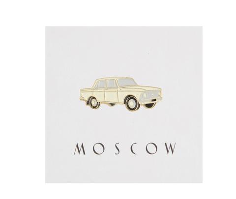 Значок металлический Москвич (бежевый)