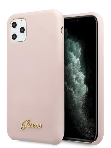 Чехол Guess Gold для iPhone 11 Pro | золотой логотип силикон розовый микрофибра