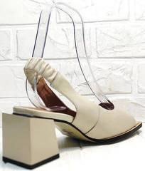 Летние женские босоножки на широком каблуке Brocoli H150-9137-2234 Cream.