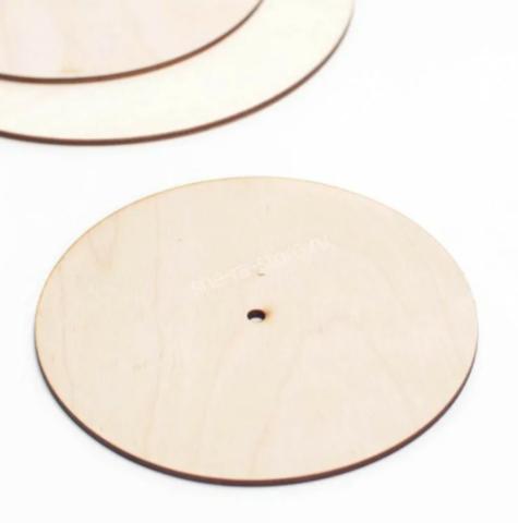 Деревянная подложка с отверстием под ось, d=30см (4мм)