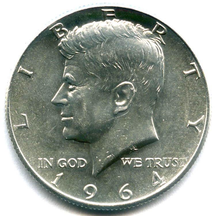 1/2 доллара 1964 (D) США XF-AU (Кеннеди).