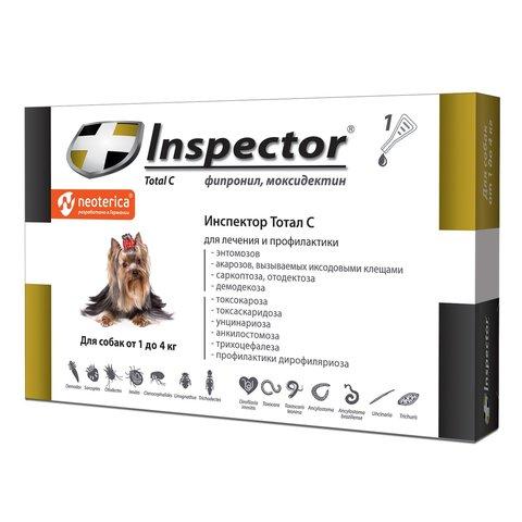 Инспектор капли для собак менее 4кг от внешних и внутренних паразитов