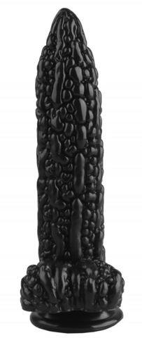 Черный фантазийный фаллоимитатор  Дикая кукуруза  - 21 см.