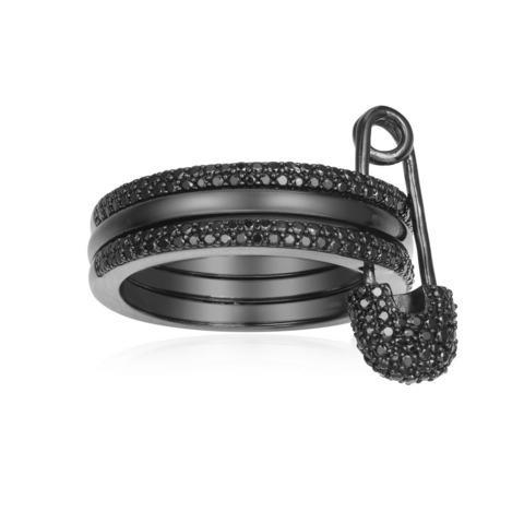 A17656- Кольцо с булавкой из черного серебра в стиле APM MONACO