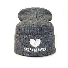 Вязаная шапка с вышивкой XXXTentacion (Онфрой) серая фото 1
