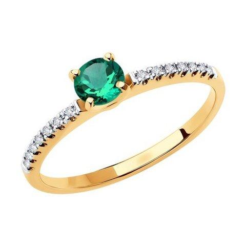 3010589 - Кольцо из золота с бриллиантами и изумрудом