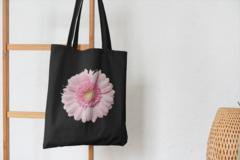 Сумка-шоппер с принтом Цветы (Герберы) черная 001