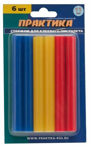Клей для клеевого пистолета ПРАКТИКА цветные, 3 цвета, 11 х 100 мм, 6шт / блистер (641-688)