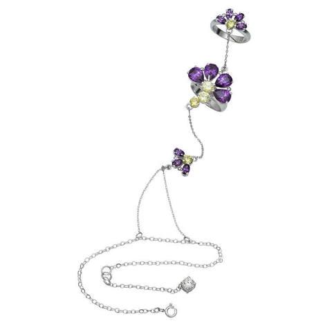 Amethysts flowers bracelet in silver