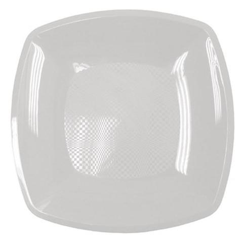 Тарелка одноразовая квадратная плоская пластиковая белая 180 мм 12 штук в упаковке