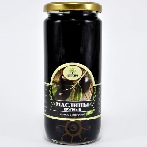 Маслины черные с косточкой крупные Amado, 500г