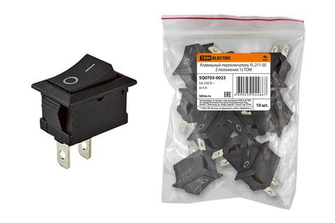 Клавишный переключатель YL-211-05 черный 2 положения 1з TDM