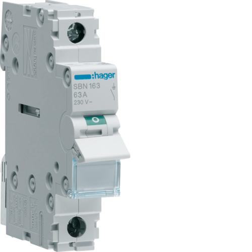 Выключатель-разъединитель (рубильник), 1P, Ie=63A 400В 50/60Гц, AC22A, Ui=500В, ширина 1M; арт. SBN163