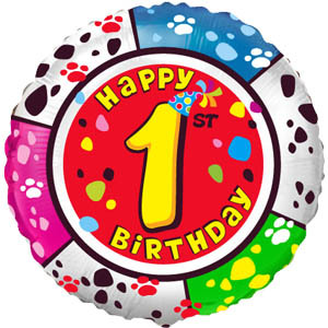 Фольгированный шар С днем рождения Цифра 1 18