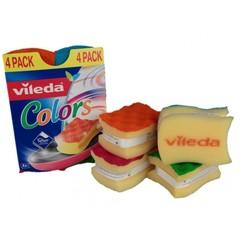 Губка для посуды, Vileda, ПУР Колорс 4шт высокий поролон