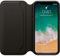 Клип-кейс Apple Leather Folio для iPhone X (черный)