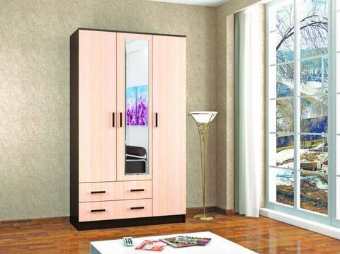 Шкаф комбинированный Лагуна С/З ЛДСП, зеркало ТЭКС венге, дуб молочный