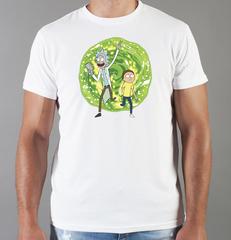 Футболка с принтом мультфильма Рик и Морти (Rick and Morty) белая 001