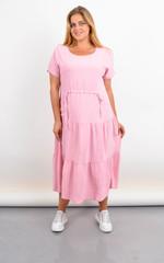 Касіні. Плаття plus size з воланами по низу. Пудра.