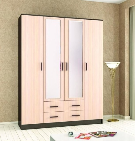Шкаф комбинированный Лагуна-016 ЛДСП, зеркало ТЭКС венге, дуб молочный