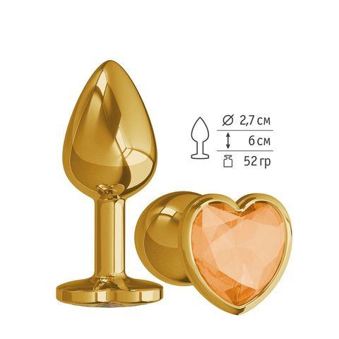 Золотистая анальная втулка с оранжевым кристаллом-сердцем - 7 см.