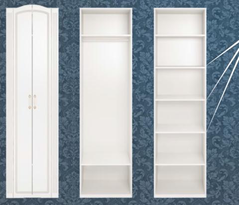 Шкаф для одежды двухдверный Виктория 16 Ижмебель белый глянец