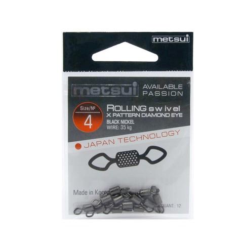 Вертлюги Metsui Rolling Swivel X-Pattern Diamond Eye black № 4