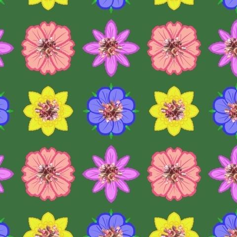 Цветы (разноцветный на зелёном)