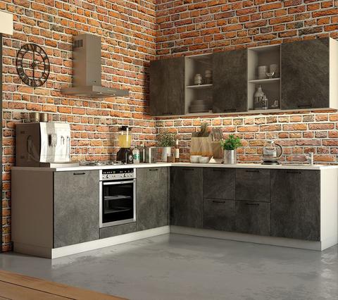 Кухня угловая Техно камень №2