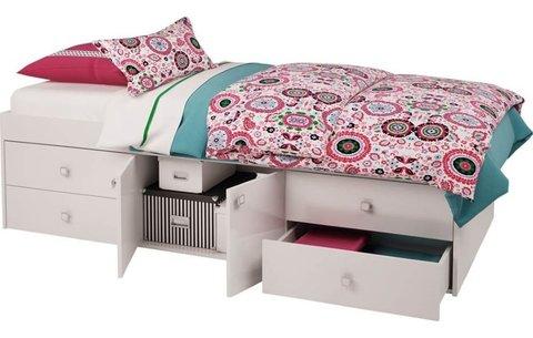 Кровать детская Polini kids Simple 3100 с 4 ящиками, белый