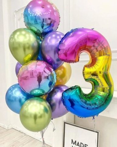 Композиция из шаров на 3 года девочке