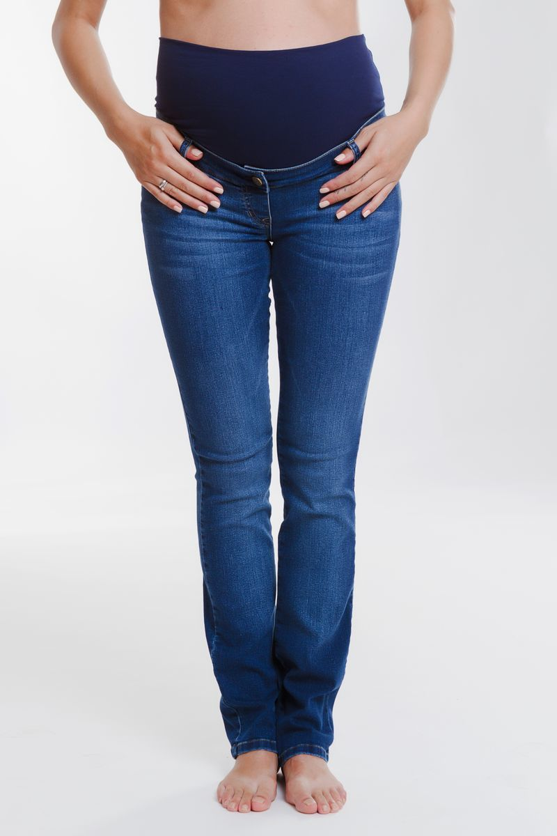 Фото джинсы для беременных MAMA`S FANTASY, зауженные, средняя посадка от магазина СкороМама, синий, размеры.