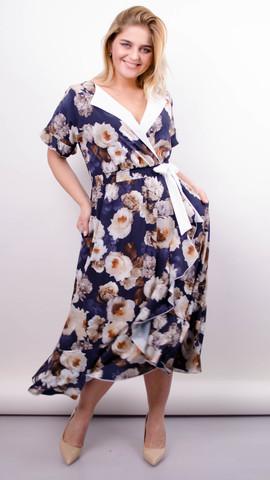 Агата. Легка сукня для великих розмірів. Троянда синій.